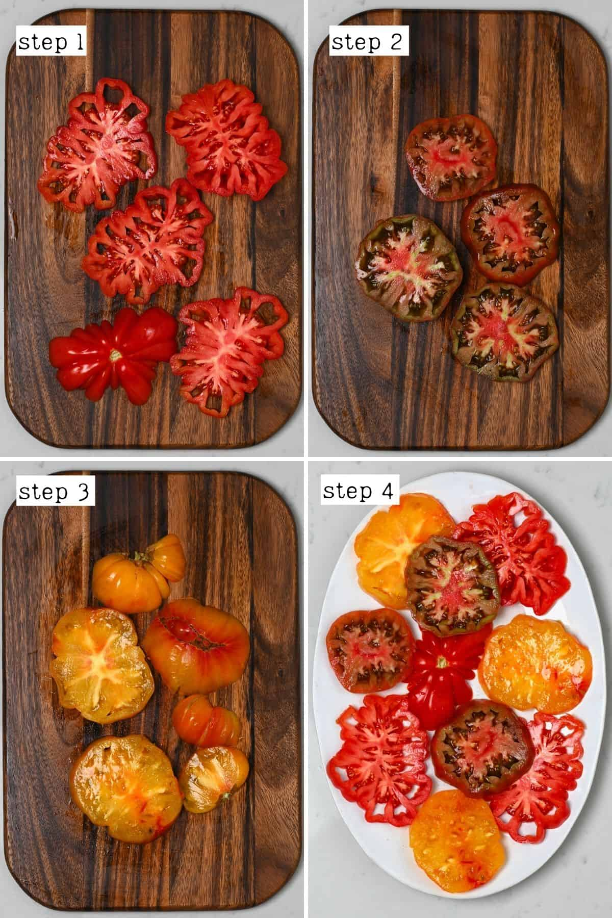 Steps for slicing tomatoes