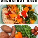Sweet potato hash with eggs and ingredients to make it