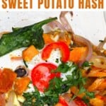 Sweet potato hash with eggs in a plate