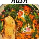 Sweet potato hash with eggs in a pan
