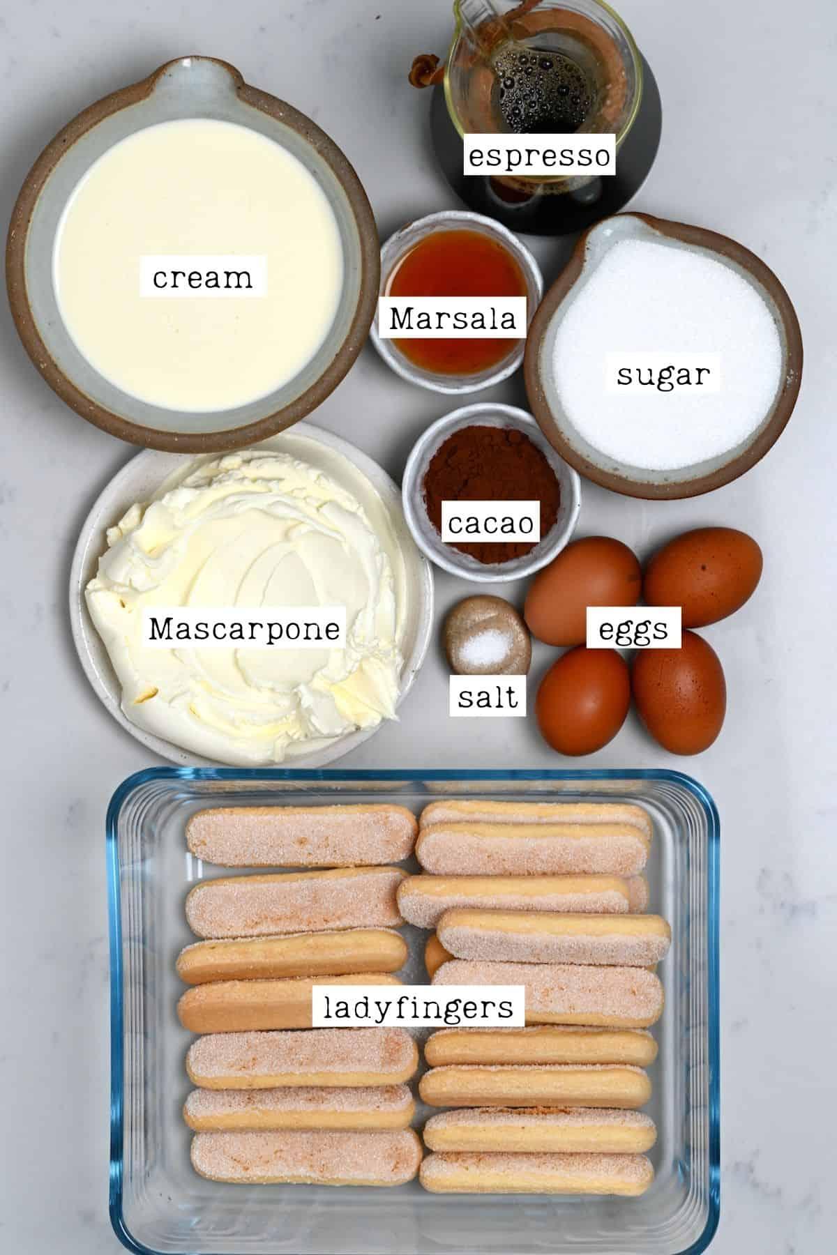 Ingredients for authentic Tiramisu recipe