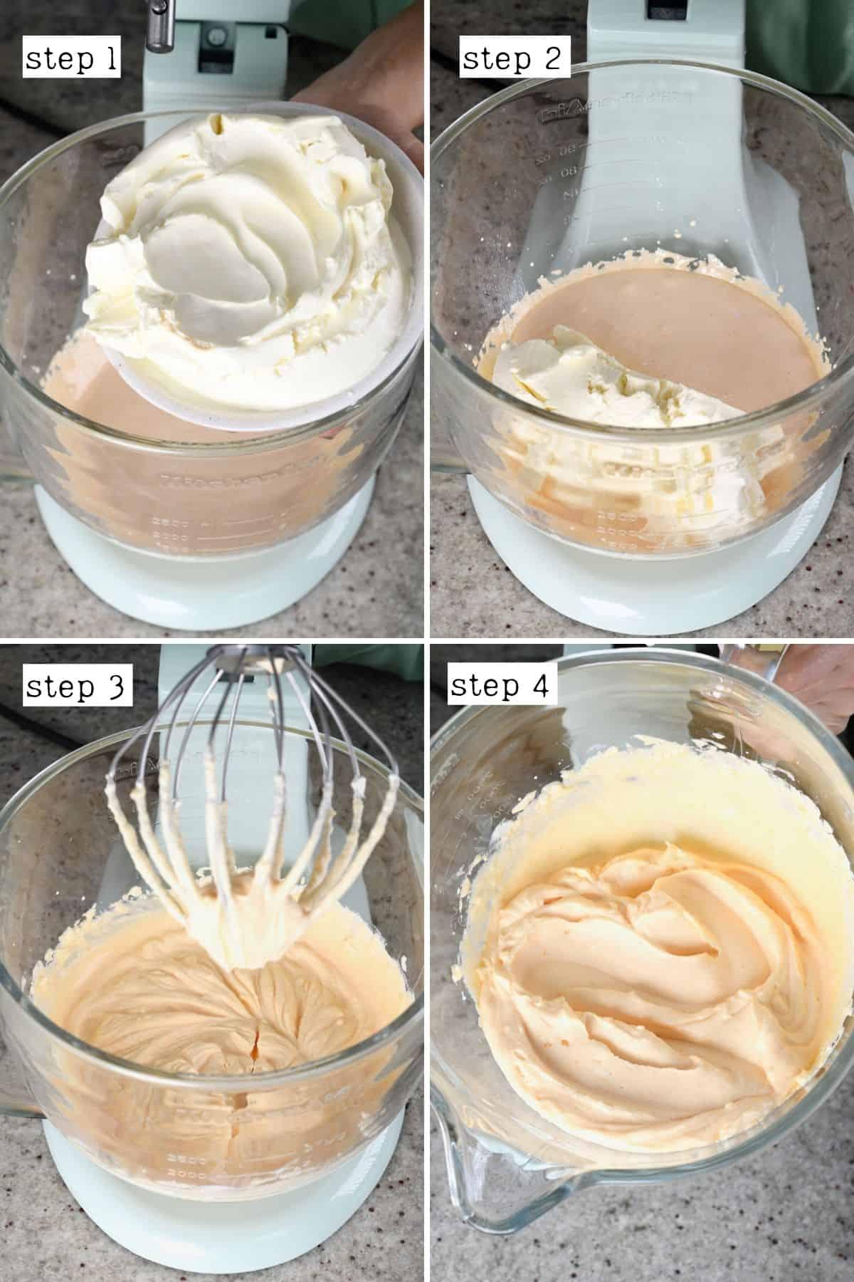 Steps for adding mascarpone to egg sugar mixture