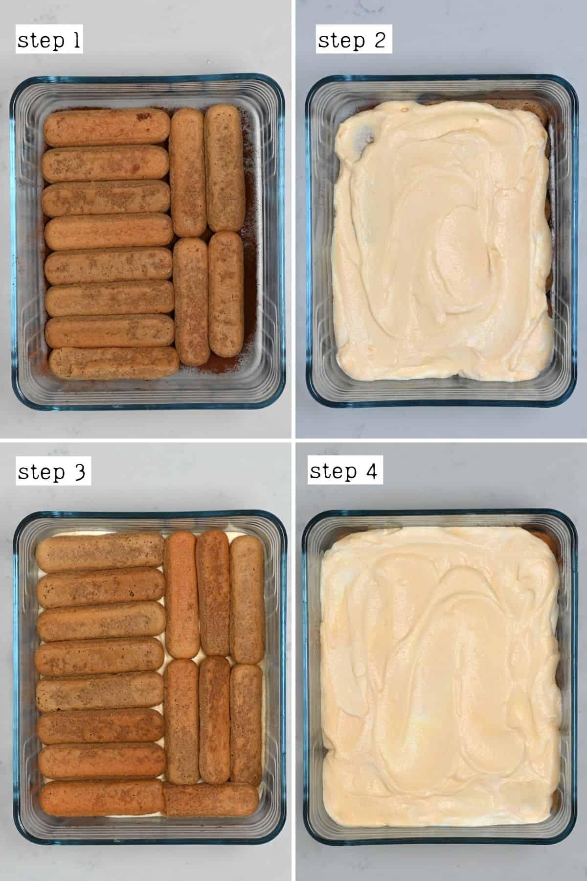 Steps for layering authentic Tiramisu recipe