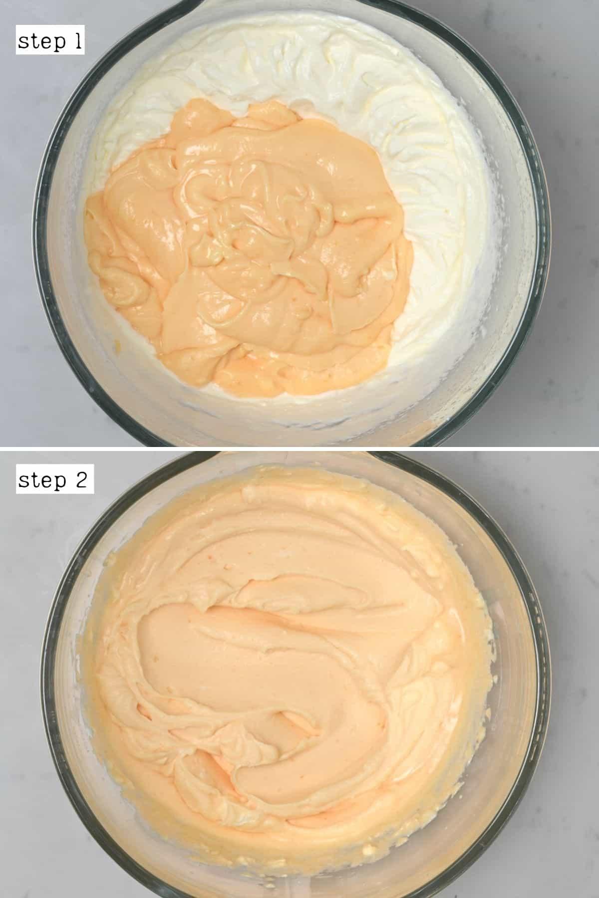Steps for mixing Tiramisu filling