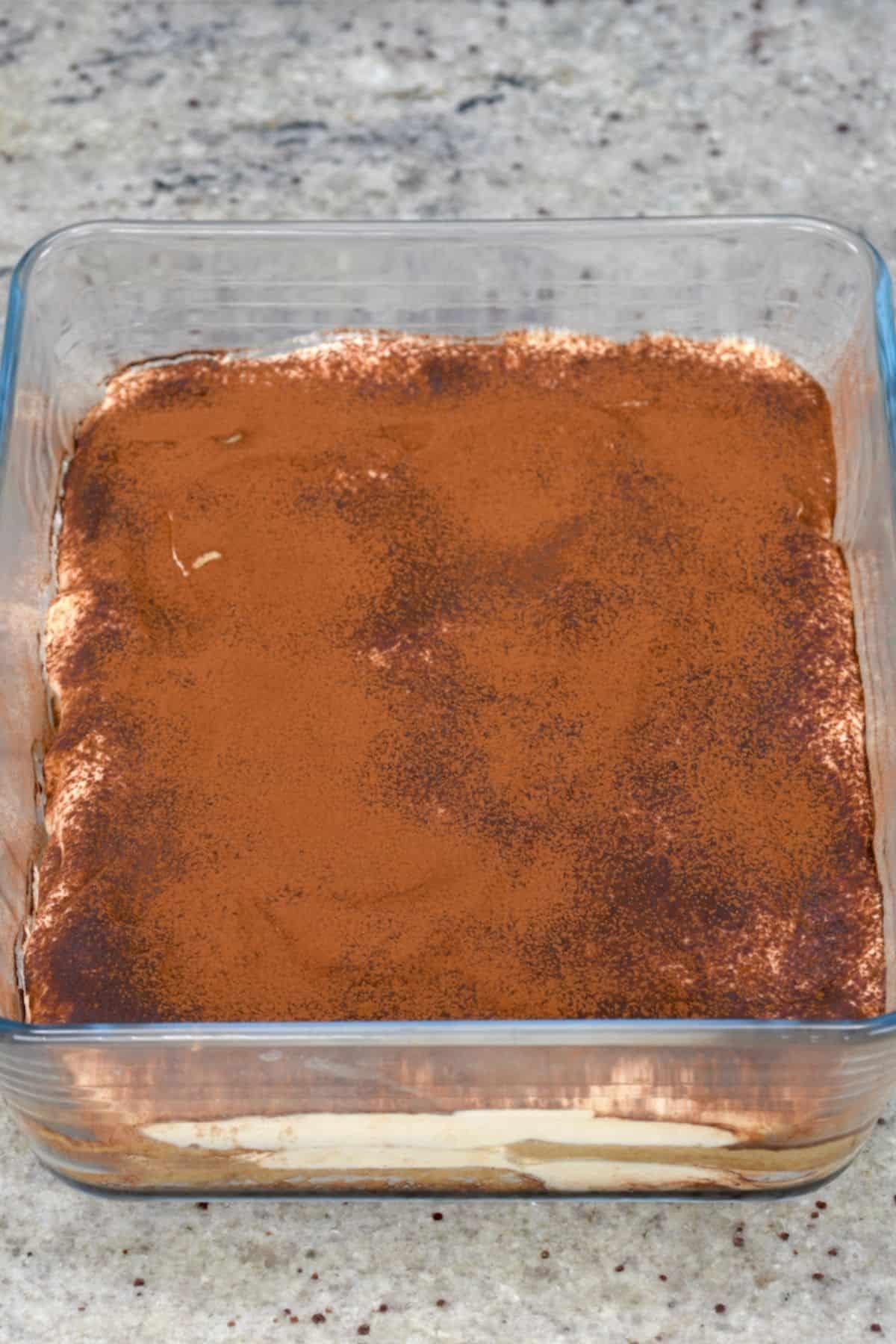 Tiramisu dusted with cacao powder