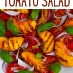 Tomato peach salad in a plate