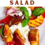 Tomato peach salad with burrata
