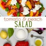Tomato peach salad and ingredients to make it