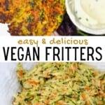 Vegan fritters and shredded vegetables