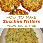 Vegan fritters in a plate and in a pan