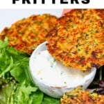 Dipping a vegetable fritter in yogurt sauce