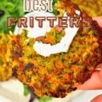 Half-eaten veggie fritter
