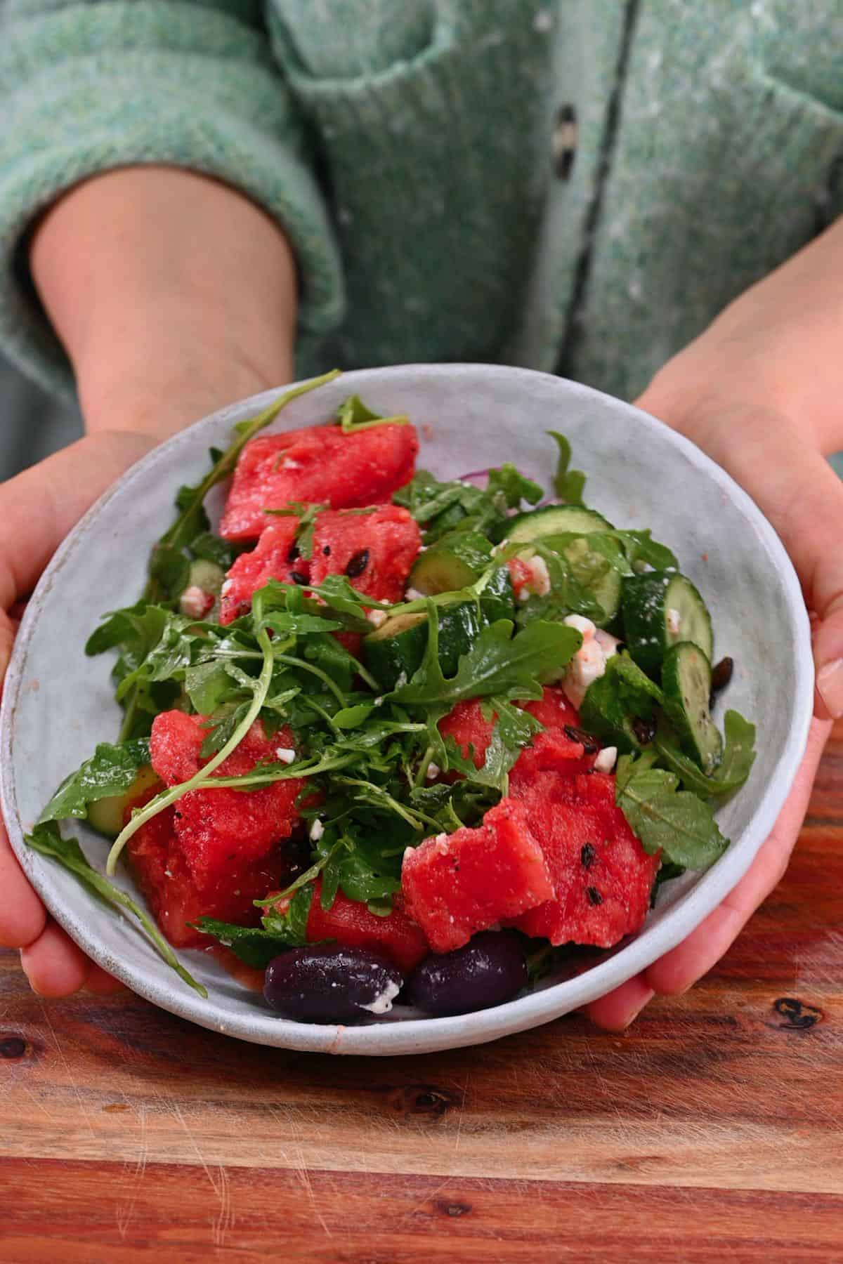 A serving of watermelon salad
