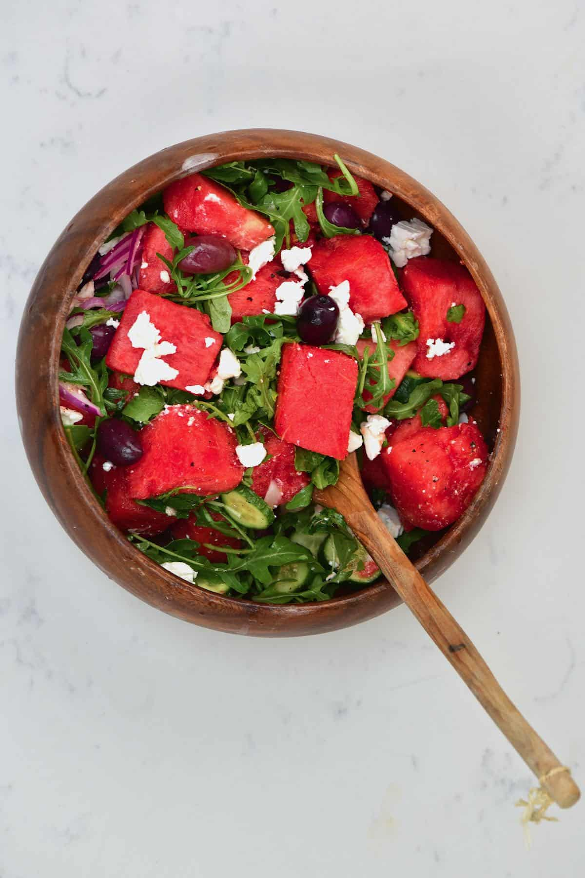 Watermelon salad in a large bowl