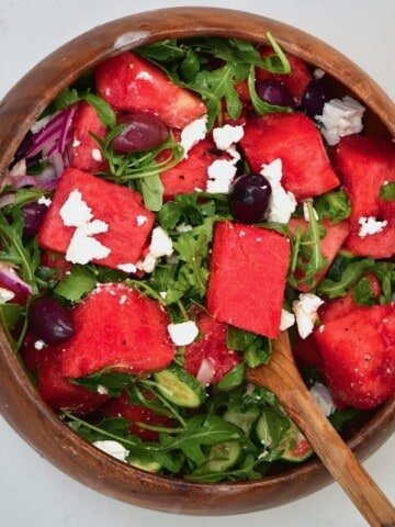 Watermelon and feta salad in a bowl