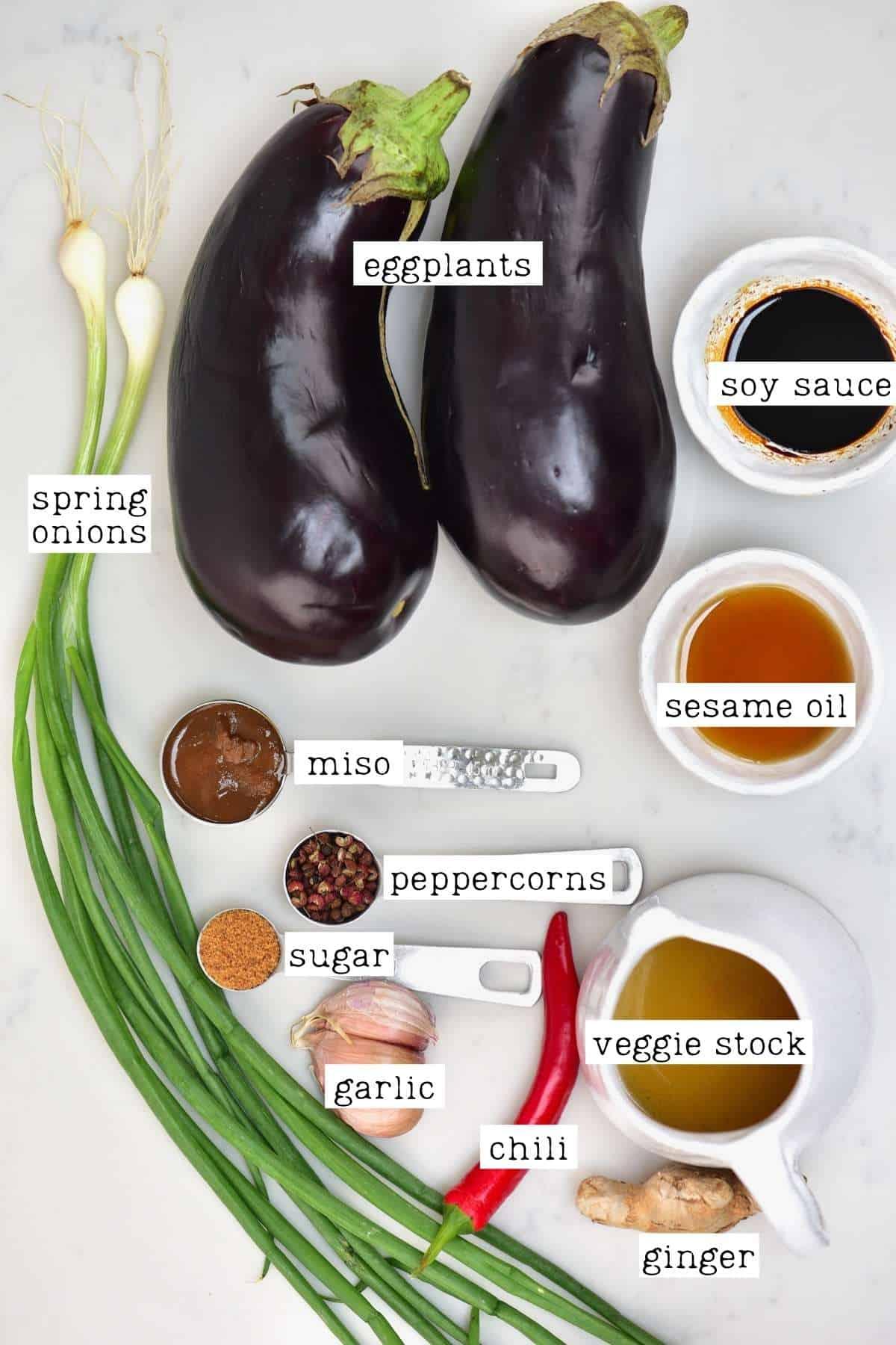 Ingredients for braised eggplant stir-fry