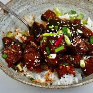 Eggplant stir-fry over rice