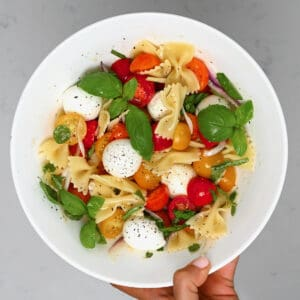 A serving of tomato pasta salad