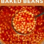 A ladle with baked beans