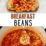 Baked beans over toast and in a pan