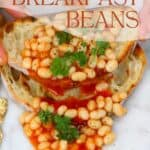 Toasted bread with baked beans