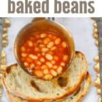 Pouring baked beans on a toast