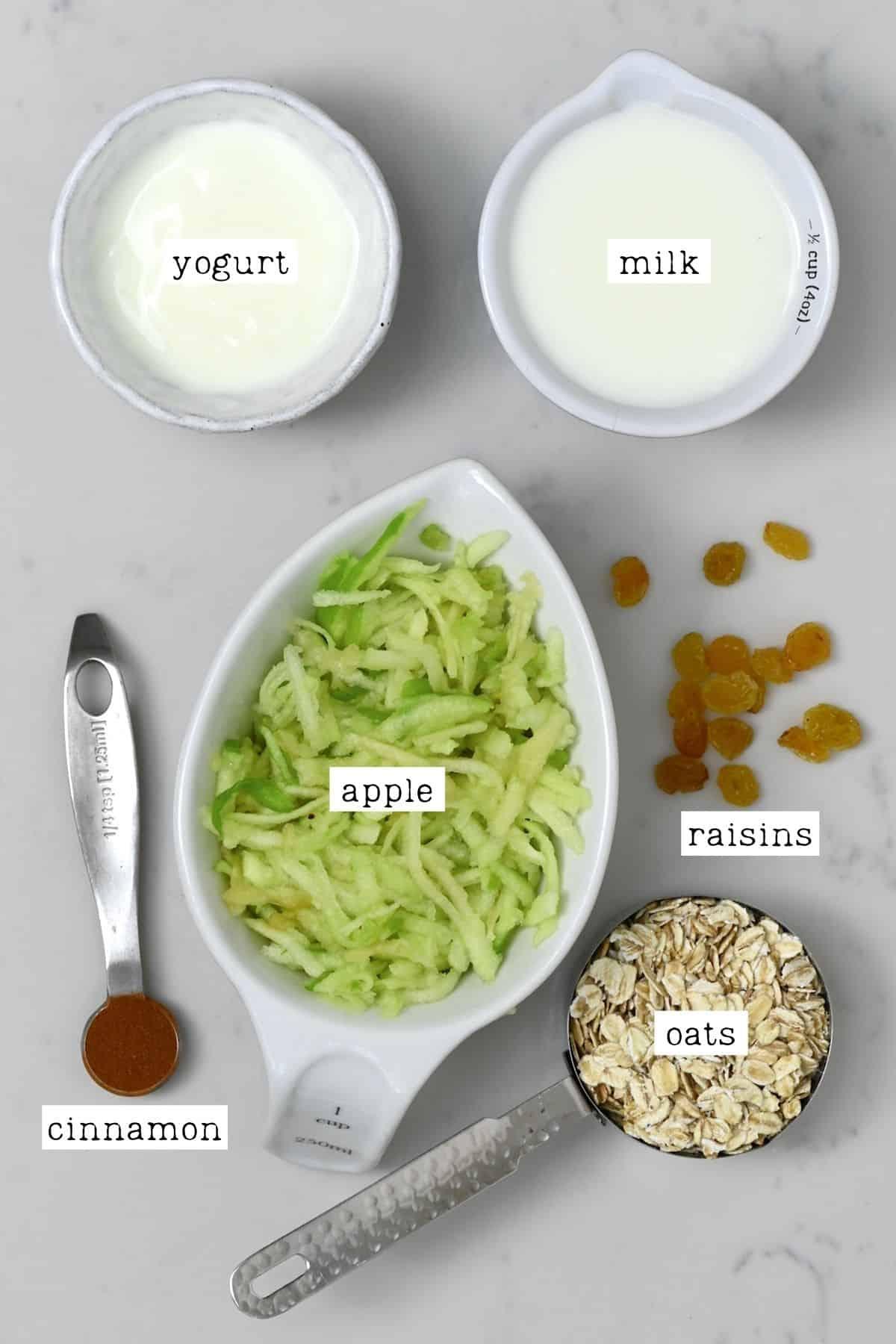 Ingredients for Bircher muesli