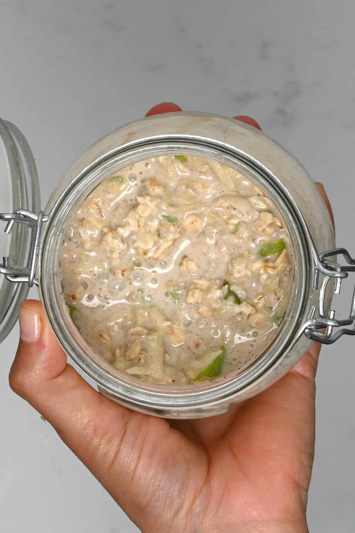 Mixed overnight oats in a jar