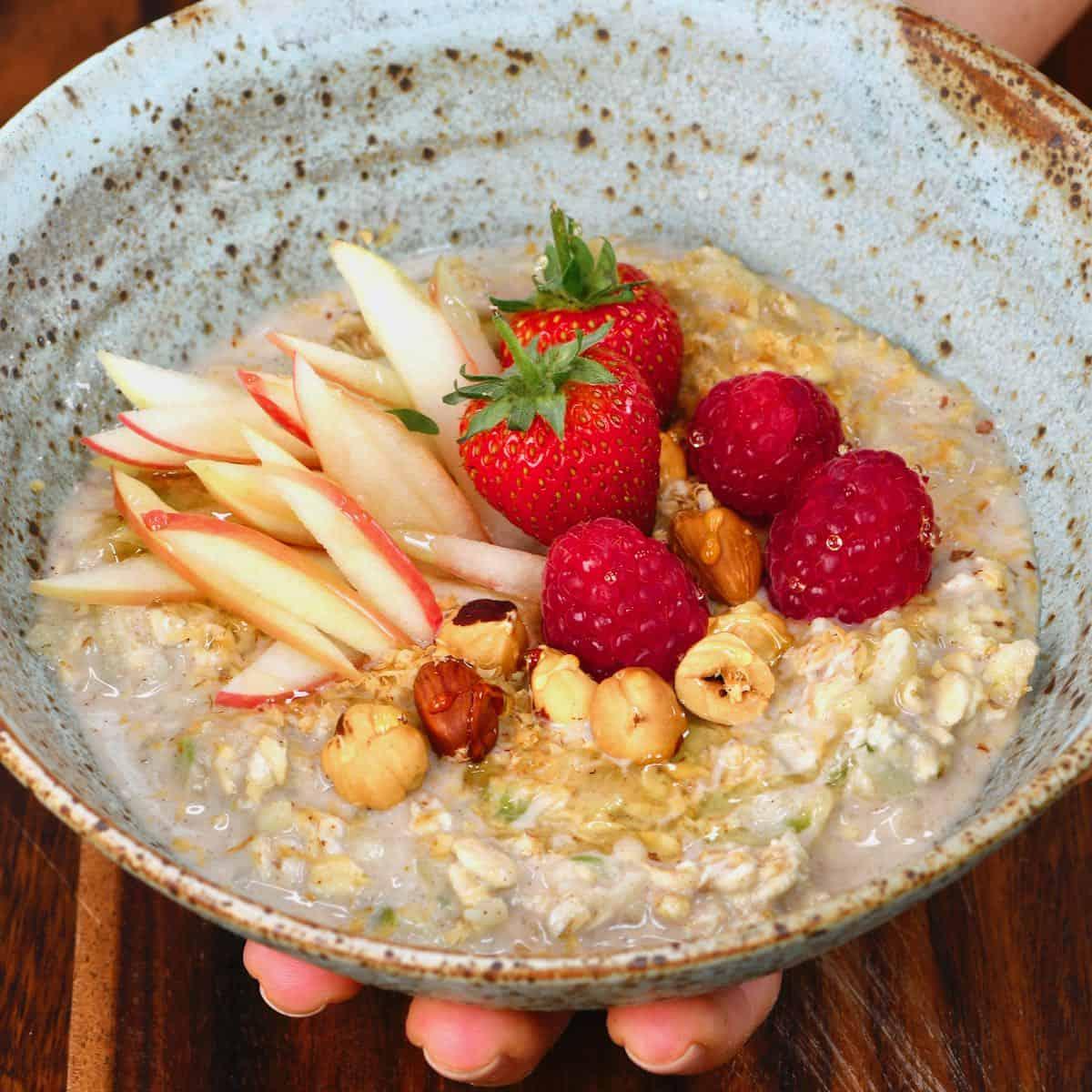Bircher muesli in a bowl