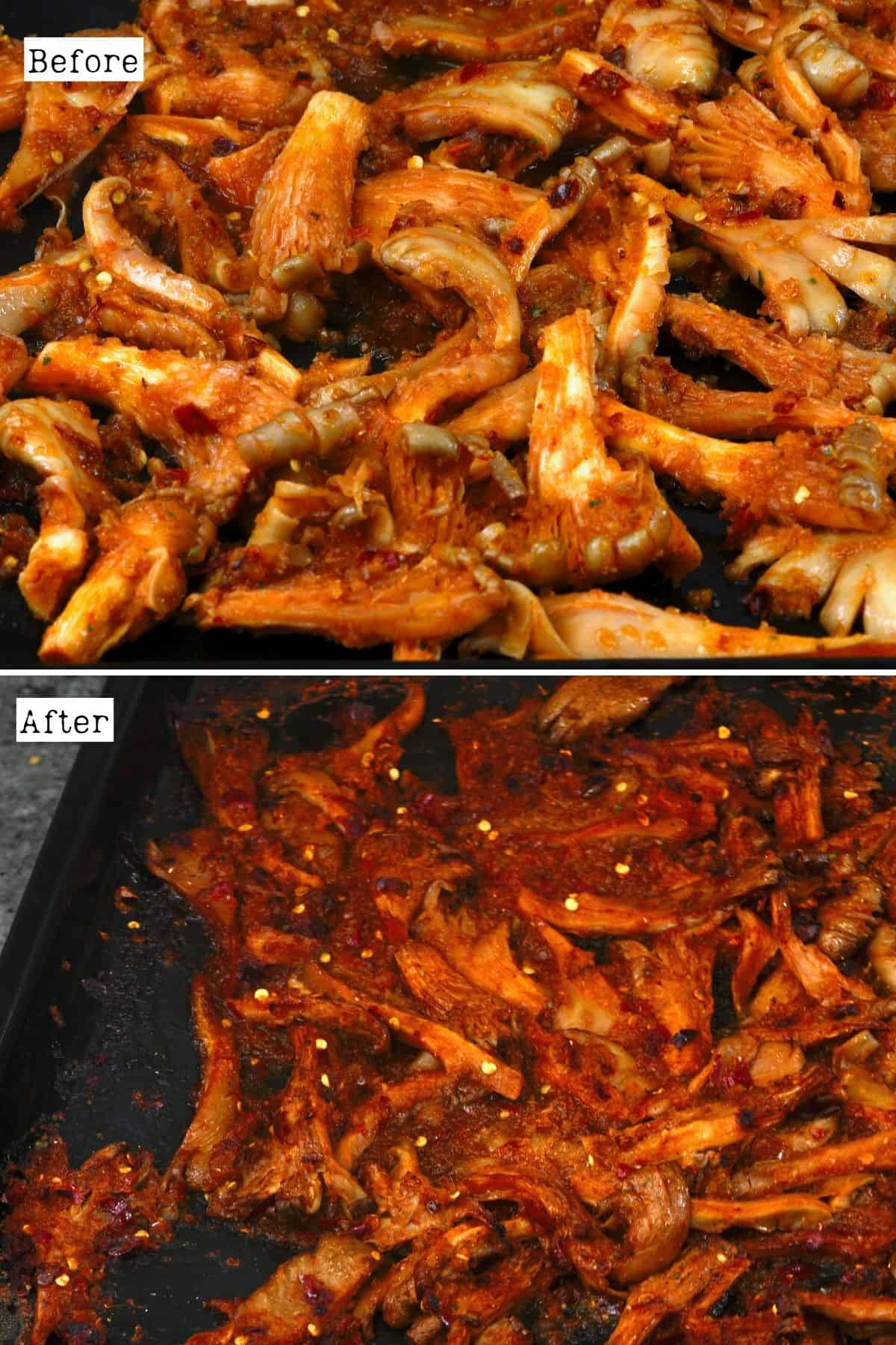 Before and after roasting marinated mushrooms