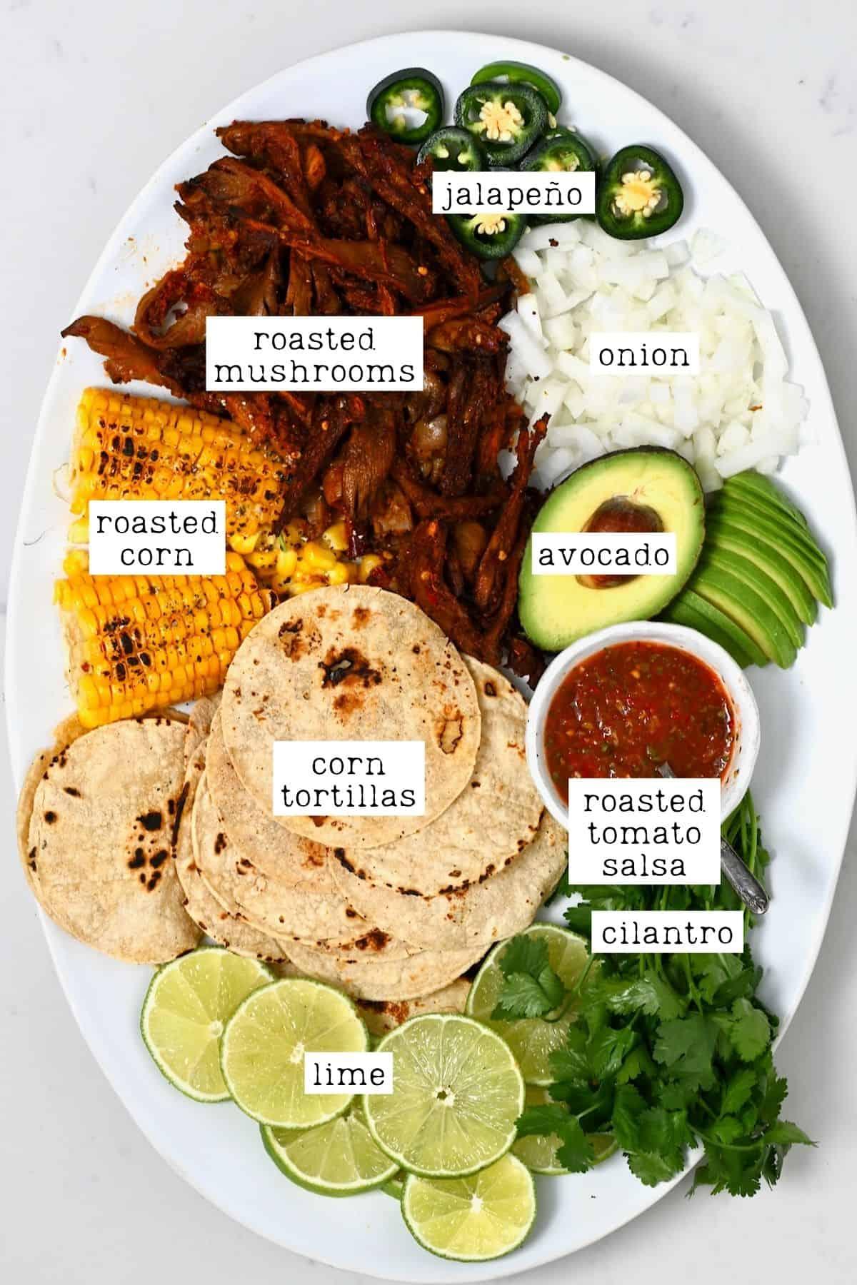 Ingredients for birria mushroom corn tacos