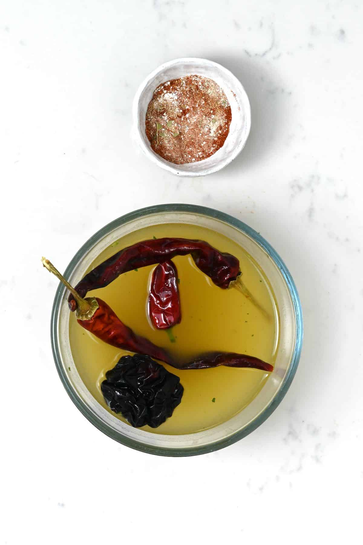Mixed spices and rehydrated chilies