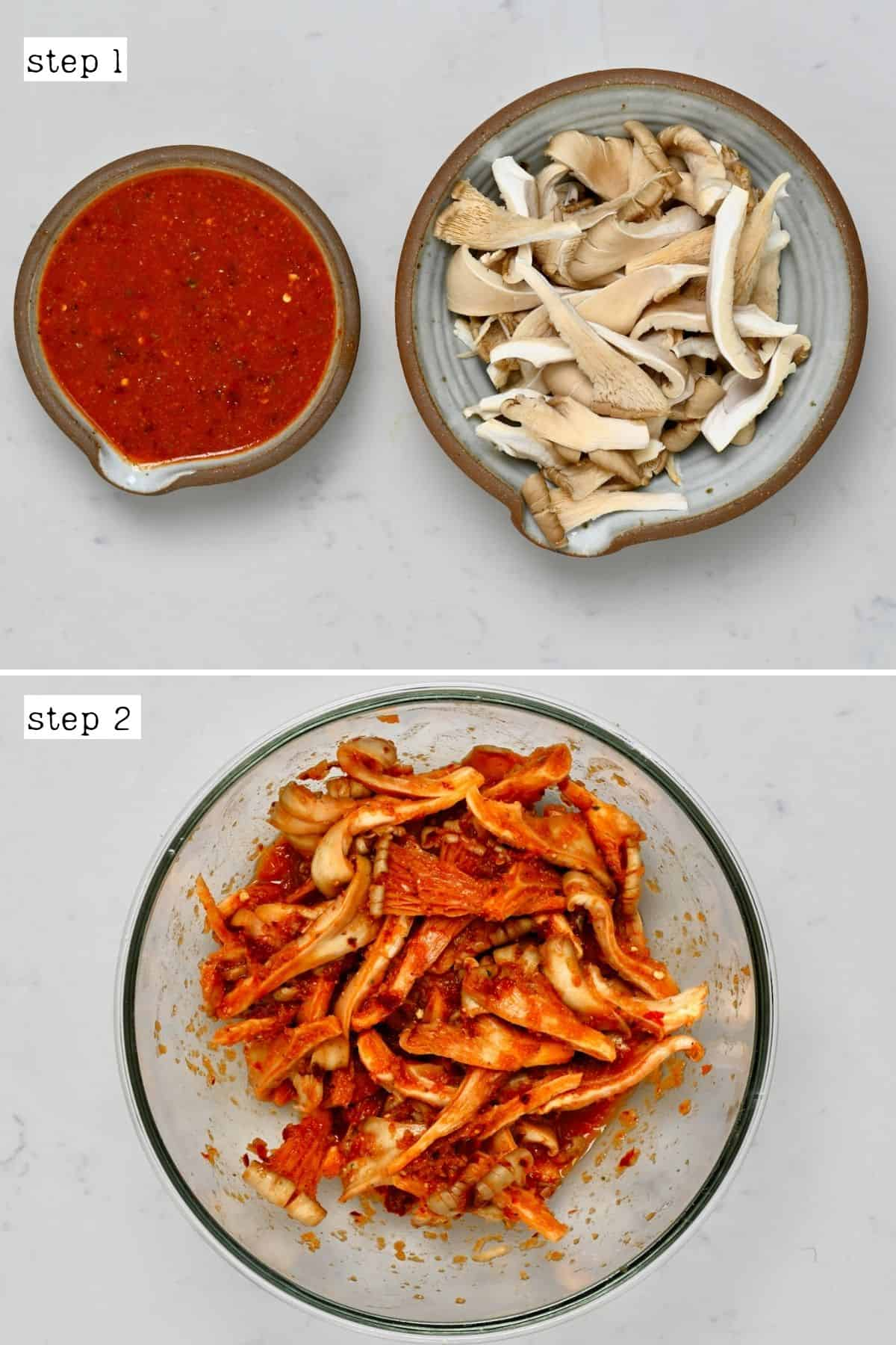 Steps for mixing mushrooms with marinade