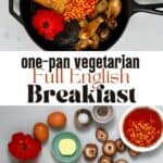 English breakfast with eggs beans mushrooms