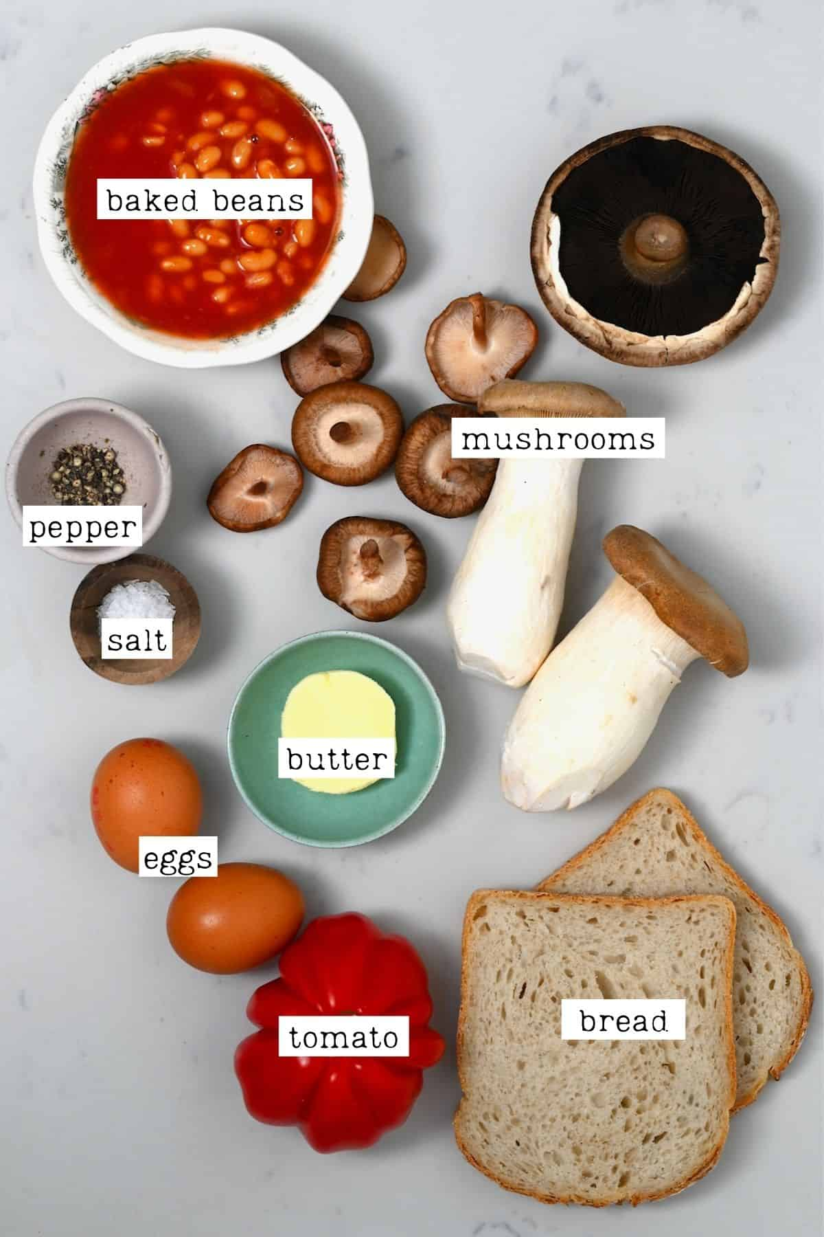 Ingredients for English breakfast