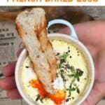 Bread dipped in French baked eggs