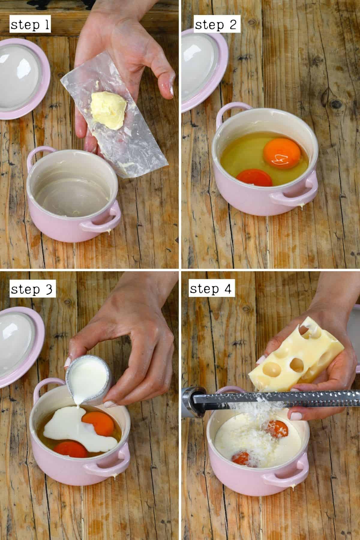 Steps for preparing baked eggs