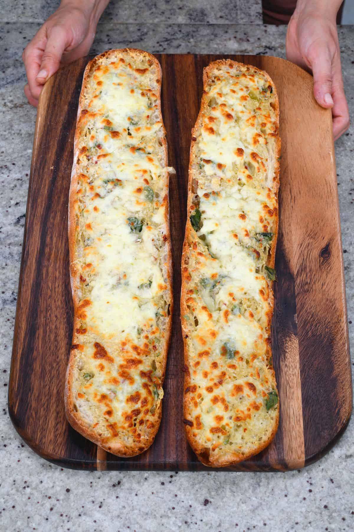 Freshly baked garlic bead with cheese