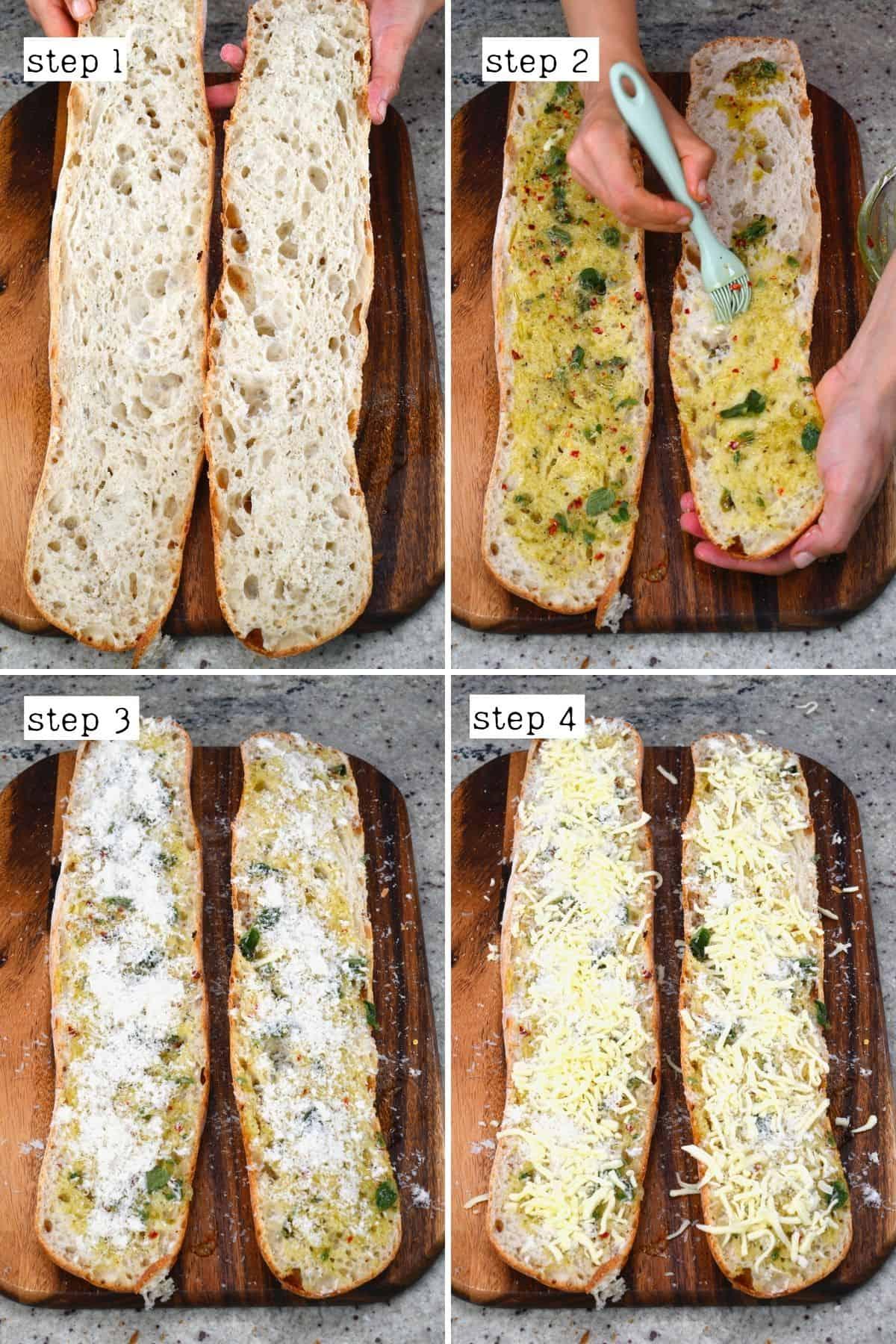 Preparing garlic cheesy bread