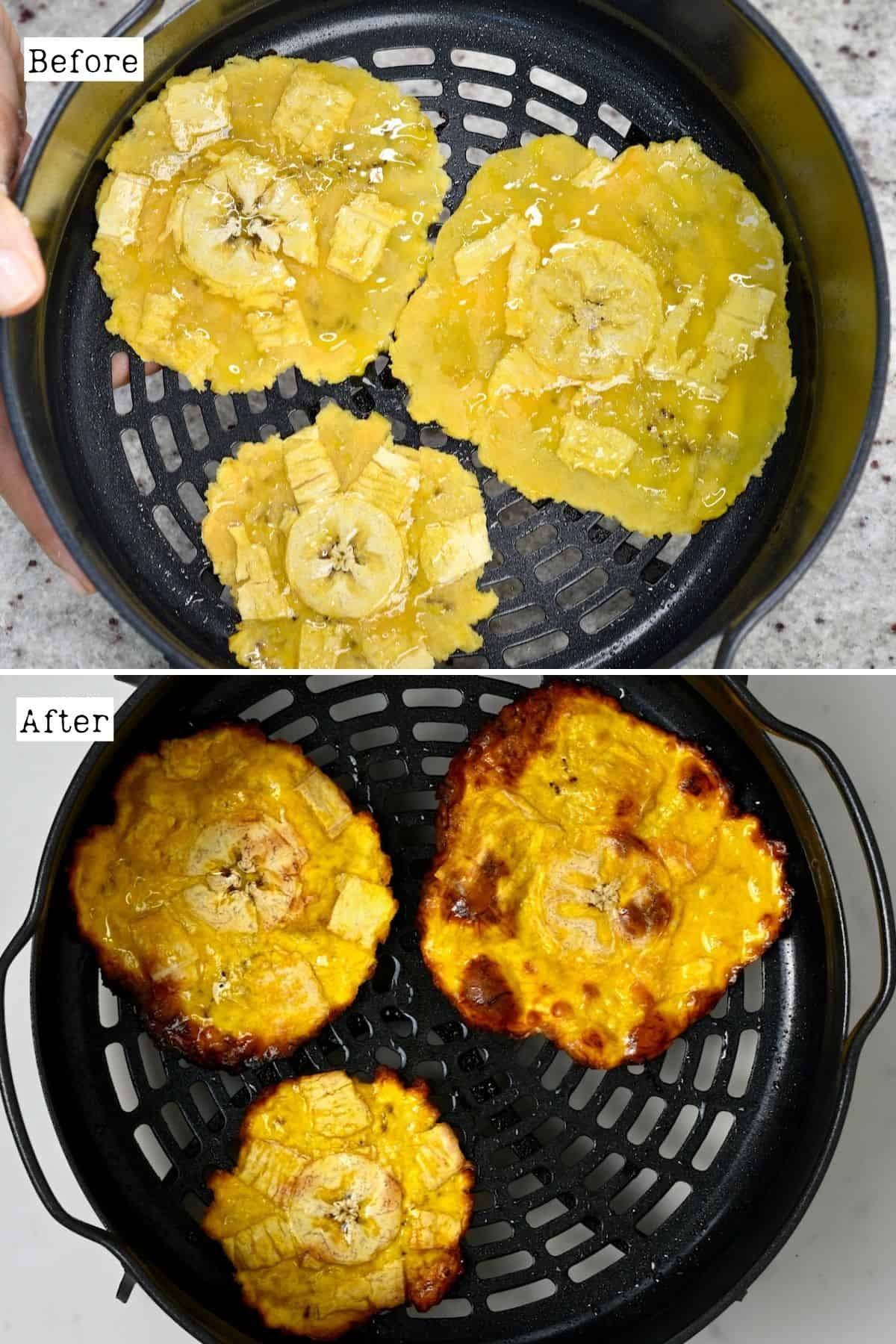 Before and after baking plantain chips
