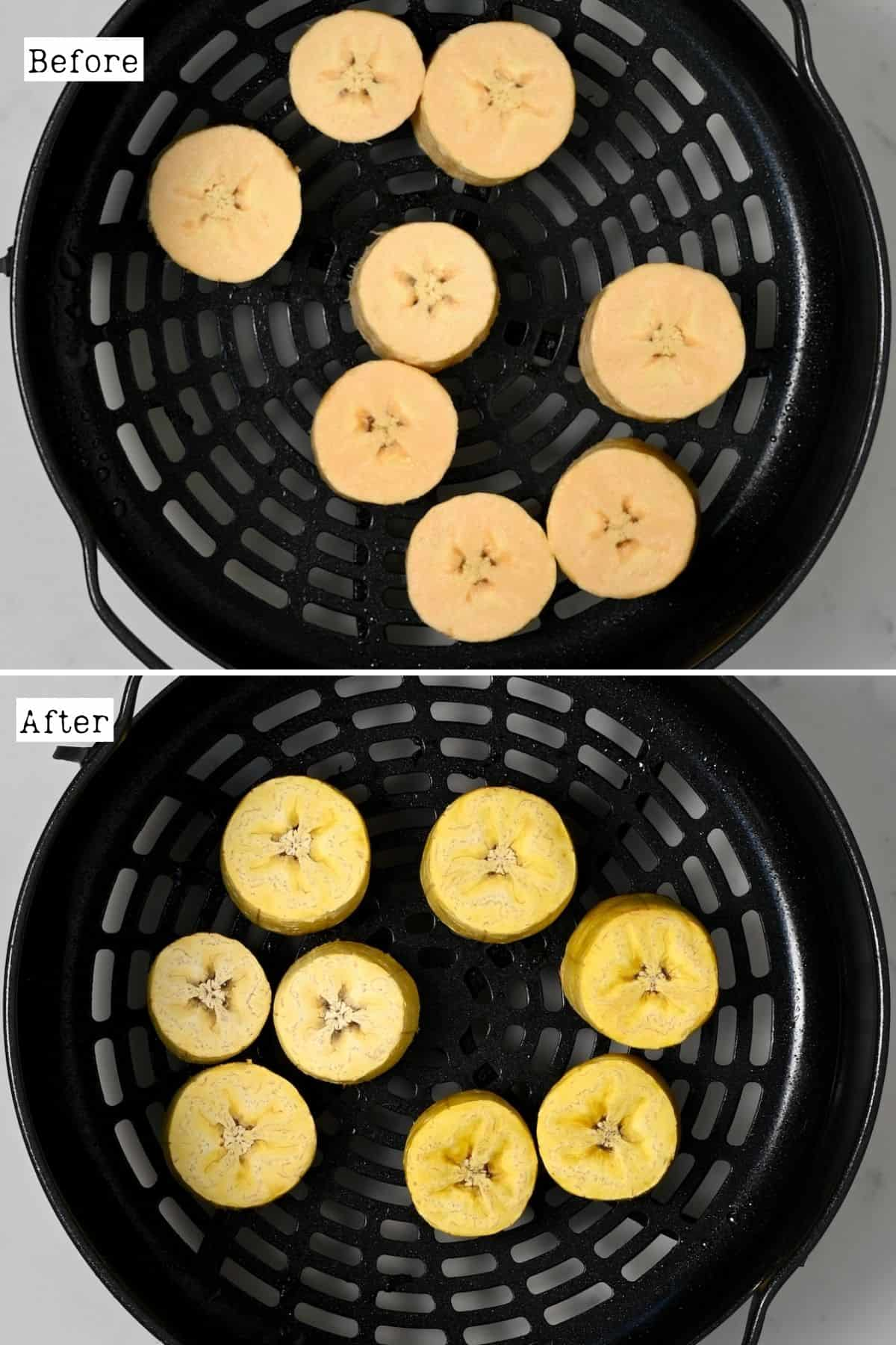 Before and after baking plantains