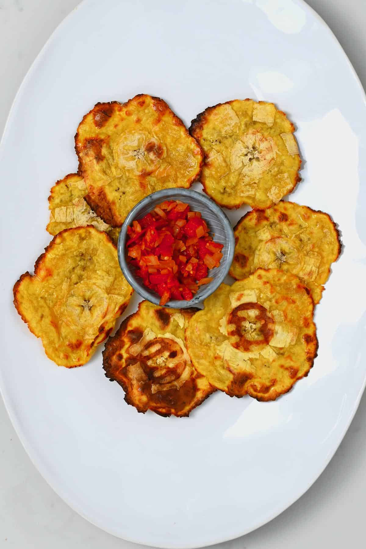 Plantain chips and red salsa