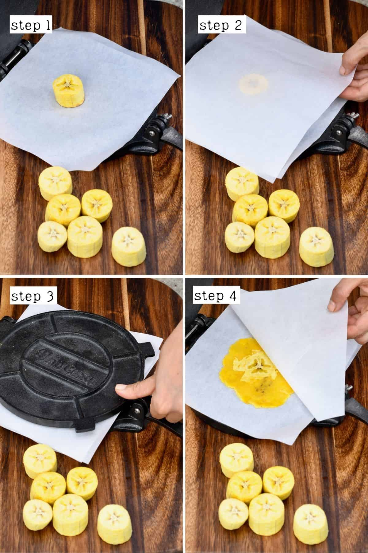 Steps for pressing plantan chips