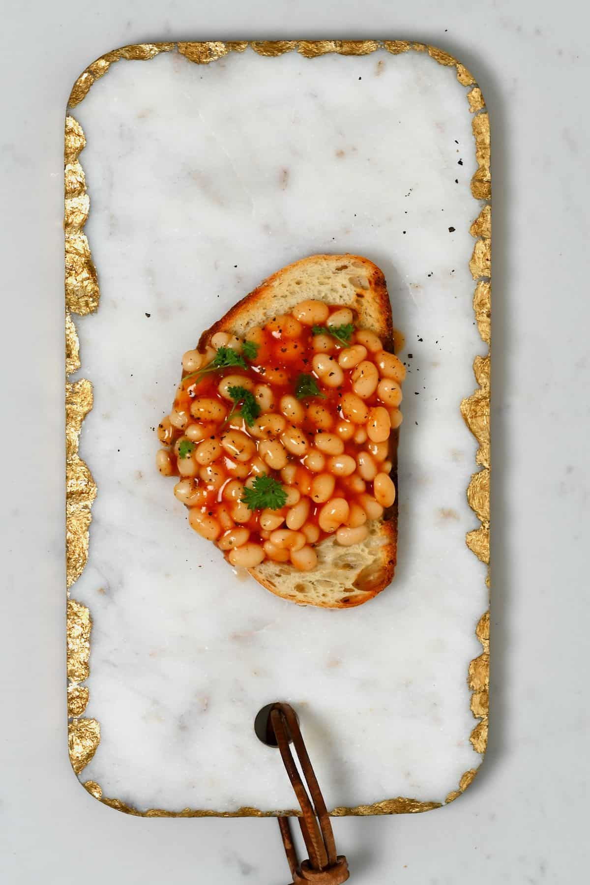 A toast with baked beans
