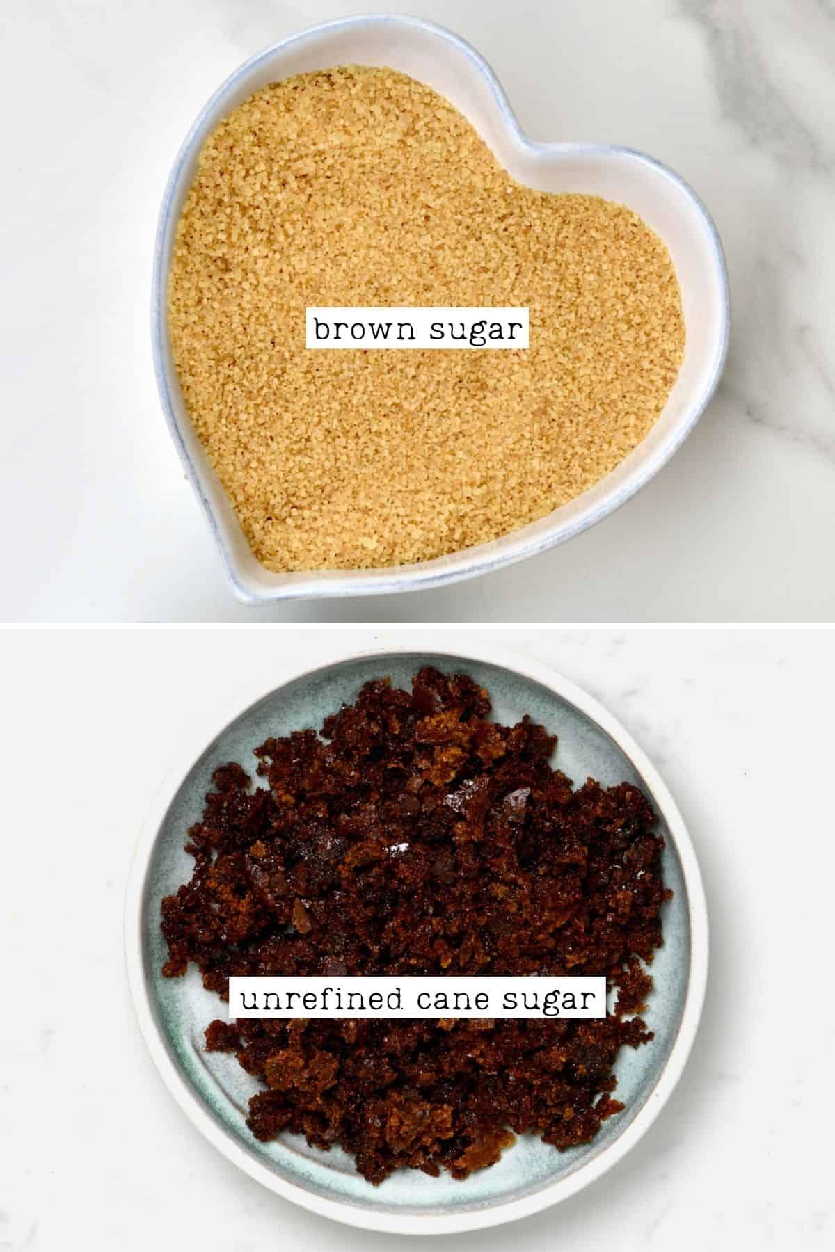 Brown sugar and unrefined cane sugar