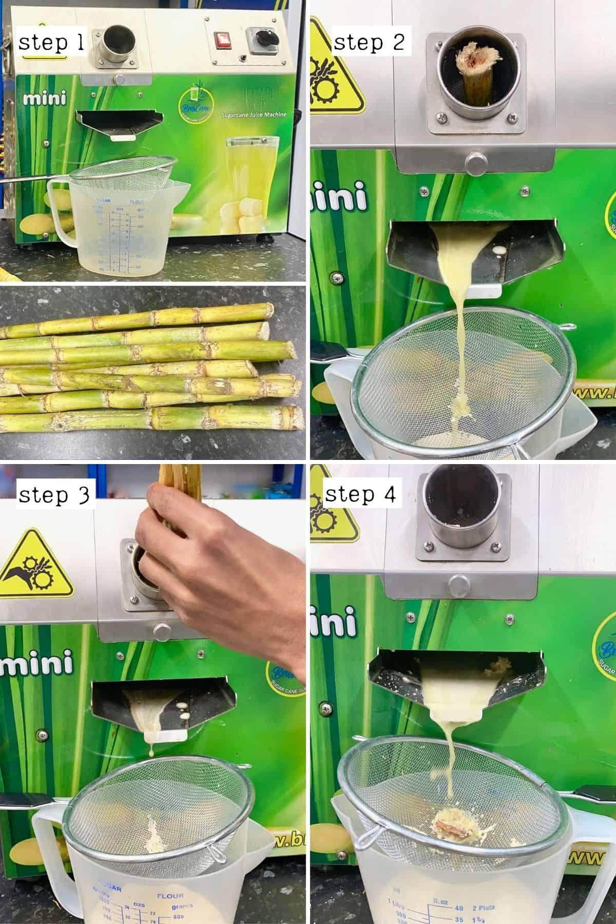 Steps for juicing sugarcanes
