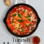 Menemen Turkish scrambled eggs with toast and tea