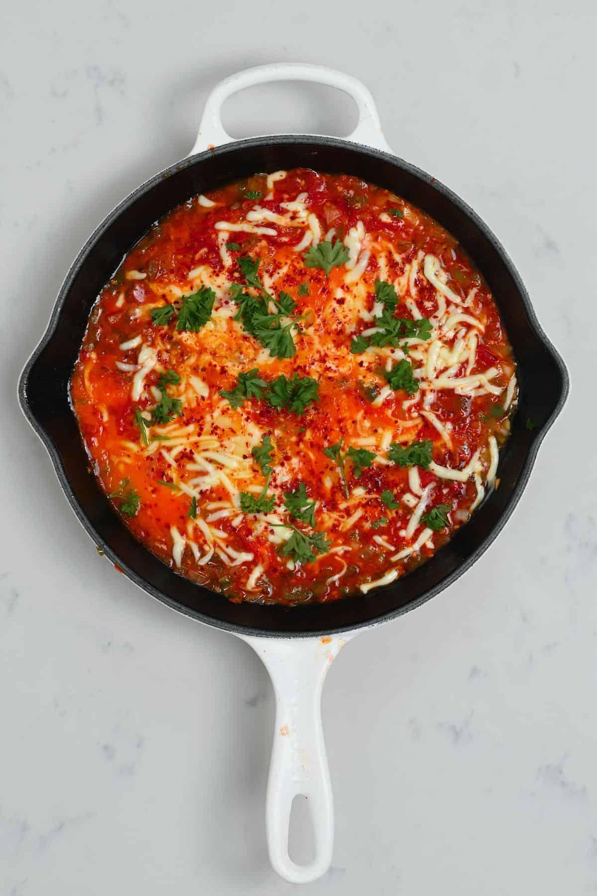 Menemen in a pan