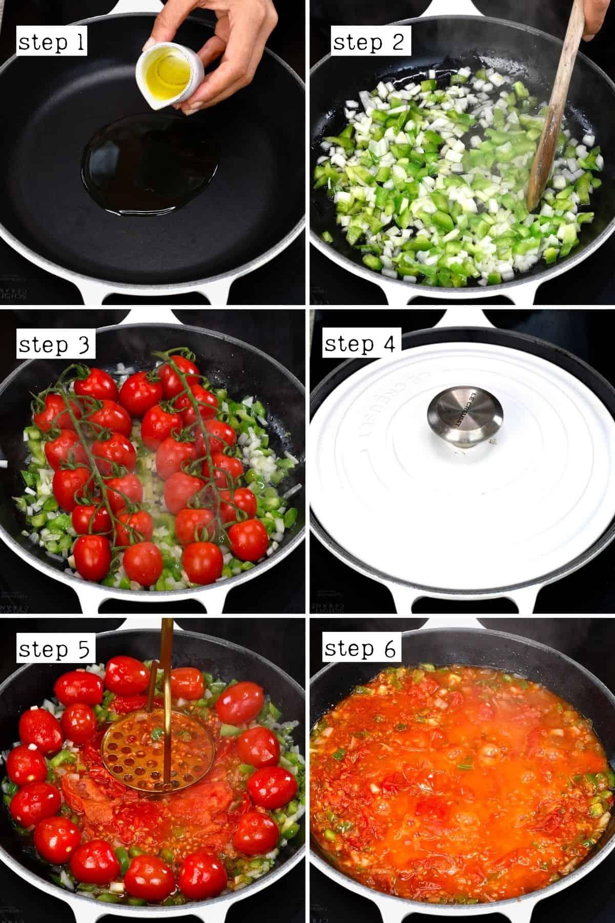 Steps for preparing menemen