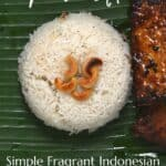 Indonesian coconut rice and fried tempeh